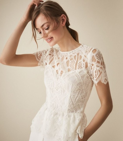 REISS FIONA LACE PEPLUM HEM TOP WHITE ~ feminine look