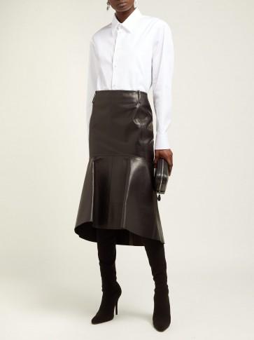 BALENCIAGA Fishtail-hem black leather skirt
