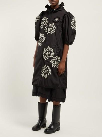 4 MONCLER SIMONE ROCHA Floral appliqué puff-sleeve parka in black ~ romantic clothing