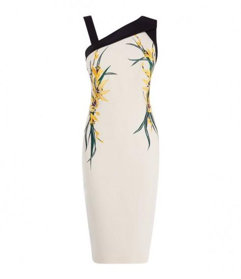 KAREN MILLEN Floral Bodycon Dress in Cream / Multi ~ asymmetric necklines