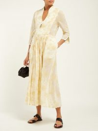 MAME KUROGOUCHI Floral fil-coupé chiffon wrap dress in yellow | oriental inspired fashion