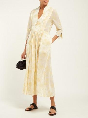 MAME KUROGOUCHI Floral fil-coupé chiffon wrap dress in yellow   oriental inspired fashion