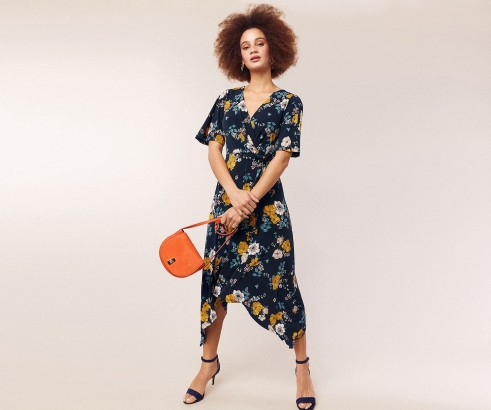 OASIS FLORAL HANKY HEM DRESS / blue wrap dresses