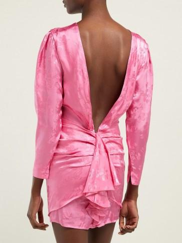 ATTICO Floral jacquard mini dress in pink ~ deep V-back