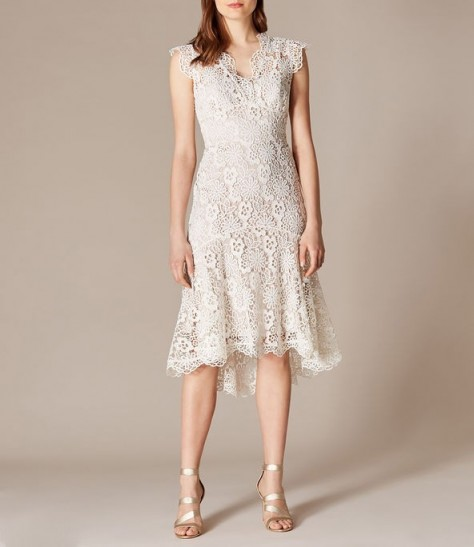 KAREN MILLEN Floral Lace Dress in Neutral ~ feminine fit and flare