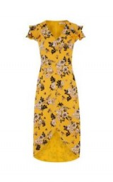 OASIS FLORAL OCHRE MIDI DRESS / yellow high low hem dresses