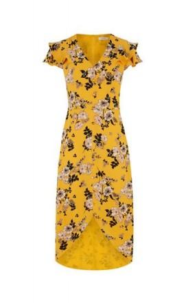 OASIS FLORAL OCHRE MIDI DRESS / yellow high low hem dresses