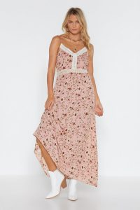 Nasty Gal Floral to Ceiling Crochet Maxi Dress in Pink