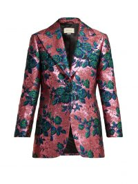 GUCCI Floral-brocade single-breasted jacket in pink