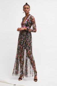 FRENCH CONNECTION FLORI EMBROIDERED FLORAL MAXI DRESS Black Multi / semi sheer special occasion dresses