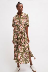 FRENCH CONNECTION FLORIANA DRAPE MIDI SHIRT DRESS Cactus Multi / green floral print dresses