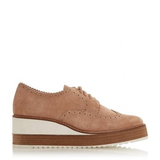DUNE LONDON Flossie – Cappuccino Suede Wedge heel Suede Brogue | luxe looking footwear | wedged brogues