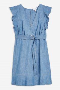 Topshop Flute Belted Denim Dress in Mid Stone | flutter sleeve dresses