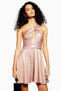 TOPSHOP Foil Twist Shoulder Mini Dress in Champagne / high shine party fashion