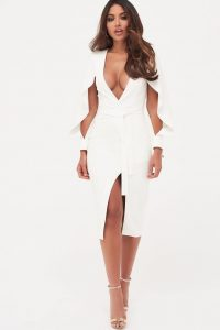 Lavish Alice folded origami sleeve belted wrap dress in white