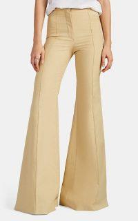 FRANCOISE Beige Cotton Wide-Leg Trousers | retro pants