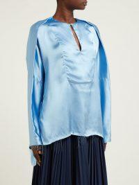 LOEWE Frayed V-neck satin blouse in blue