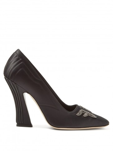 FENDI Freedom crystal-logo square-toe satin pumps in black ~ sculptural court shoes