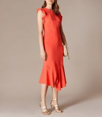 KAREN MILLEN Frilly Fitted Pencil Dress Coral / frill trimmed occasion dresses / summer occasions