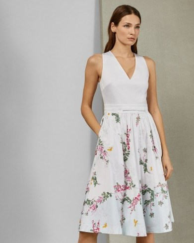 TED BAKER REYYNE Full skirted cotton dress in white / floral sleeveless fit and flare - flipped