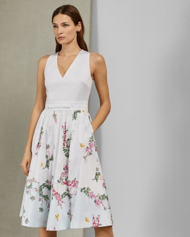 TED BAKER REYYNE Full skirted cotton dress in white / floral sleeveless fit and flare