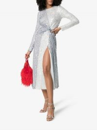 Galvan Pinwheel Sequin-Embellished Dress in Silver | luxe party fashion