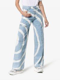 Ganni Blackstone Tie-Dye Cargo Jeans in Blue and White / retro denim