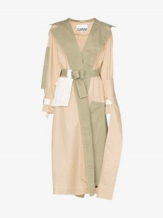 Ganni Hazel Deconstructed Cotton Trench Coat in beige and green ~ contemporary outerwear