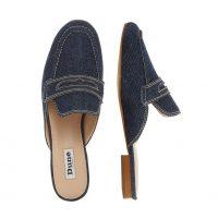 DUNE LONDON Gardenia Denim Saddle Strap Mule Loafer | blue flat mules