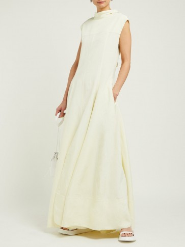 JIL SANDER Gatsby slit-hem open-back dress in Light-Yellow ~ elegant spring maxi