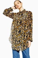 Topshop Boutique Geometric Print Silk Shirt | longline printed shirts | geo prints