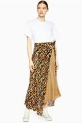 Topshop Boutique Geometric Print Silk Skirt | mixed prints | asymmetric skirts