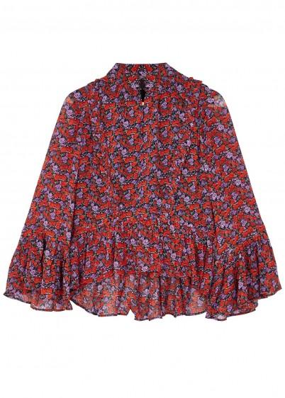 GESTUZ Rosanna floral crepe blouse / frill trimmed blouses