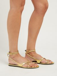 SAINT LAURENT Gia gold leather sandals ~ strappy summer vacation flats