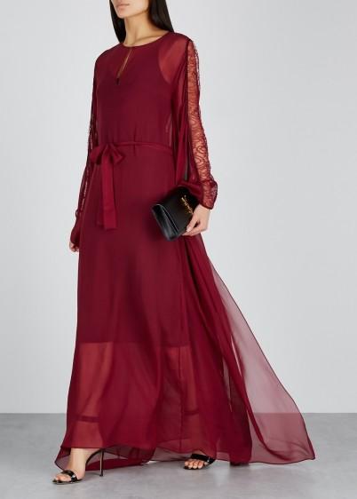 GIAMBATTISTA VALLI Faton lace-trimmed silk dress in bordeaux
