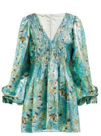 STELLA MCCARTNEY Gianna green and blue floral-print lamé dress ~ metallic eveningwear