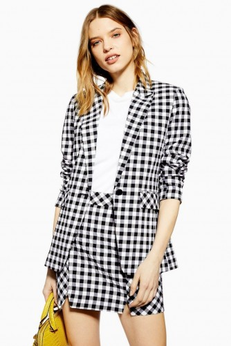 TOPSHOP Gingham Skirt in Monochrome / black and white checked mini