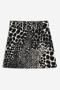 Topshop Giraffe Denim Mini Skirt in Monochrome | black and white animal skirts