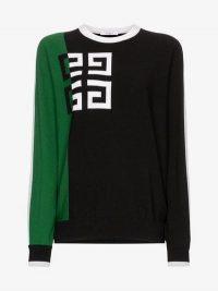 Givenchy Logo Print Two-Tone Woollen Blend Jumper / designer knitwear