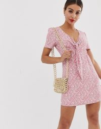 Glamorous mini dress with tie front in ditsy pink floral