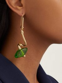 MARNI Green glass-bead spiral-bar earrings ~ gold tone statement drops
