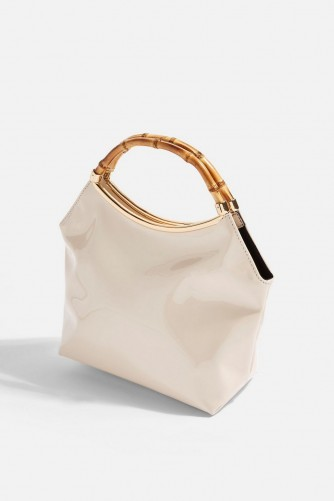 Topshop Gloria Bamboo Handle Tote Bag in Ivory | glossy neutral bag