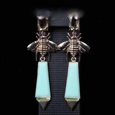 Gold Plated Bee Resin Drop Earrings – Tutu's Jewellery - flipped