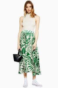 Topshop Graphic Print Full Circle Midi Skirt in Green | bold leaf design