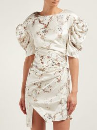 PREEN BY THORNTON BREGAZZI Greta floral-print puff-sleeve satin dress in ivory / big shoulders / 80s style
