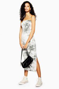 TOPSHOP Grey Tie Dye Bandeau Dress / strapless summer dresses