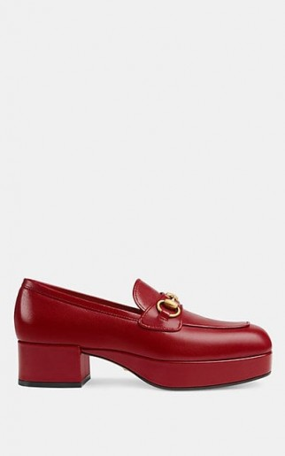 GUCCI Leather Platform Loafers in Hibiscus ~ chunky red loafer
