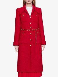 GUCCI Tweed coat with horsebit belt in red | designer vintage style coats