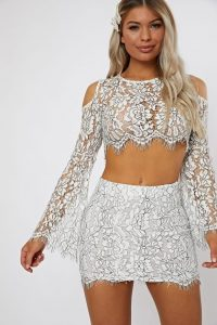 IN THE STYLE HALCIA MONO LACE MINI SKIRT