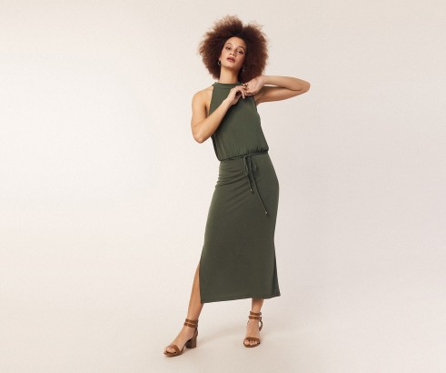 OASIS HALTER CUPRO MIDI DRESS in KHAKI / simple green halterneck dresses